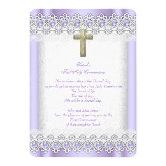 First Holy Communion 1st Girls Cross Lavender Gold Card