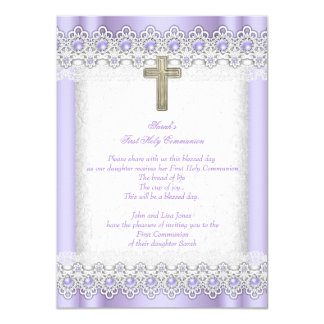 First Holy Communion 1st Girls Cross Lavender Gold 11 Cm X 16 Cm Invitation Card