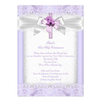 First Holy Communion 1st Girls Cross Lavender Custom Invitation