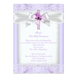 First Holy Communion 1st Girls Cross Lavender 4.5x6.25 Paper Invitation Card