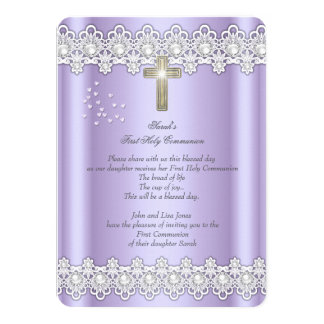 First Holy Communion 1st Girls Cross Lavender Lace 4.5x6.25 Paper Invitation Card
