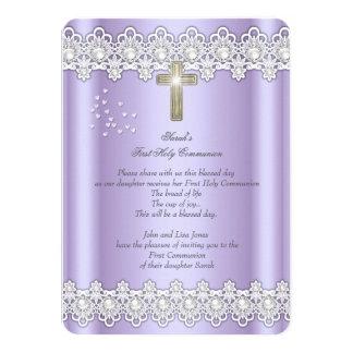 First Holy Communion 1st Girls Cross Lavender Lace 11 Cm X 16 Cm Invitation Card