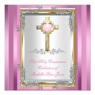 First Holy Communion 1st Girls Cross Pink 2 13 Cm X 13 Cm Square Invitation Card