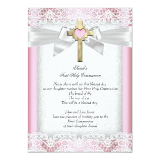 First Holy Communion 1st Girls Cross Pink 5 11 Cm X 16 Cm Invitation Card