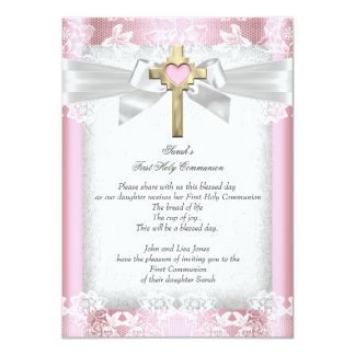 First Holy Communion 1st Girls Cross Pink 6 11 Cm X 16 Cm Invitation Card