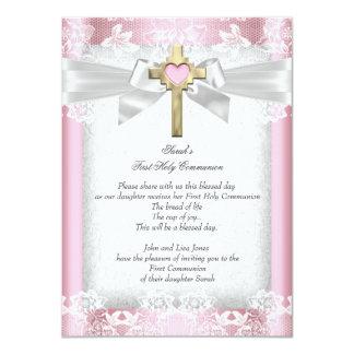First Holy Communion 1st Girls Cross Pink 6 Custom Invitations