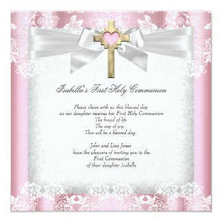 First Holy Communion 1st Girls Cross Pink 6a 13 Cm X 13 Cm Square Invitation Card