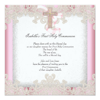 First Holy Communion 1st Girls Cross Pink 7 13 Cm X 13 Cm Square Invitation Card