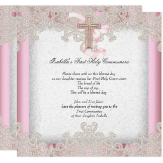 First Holy Communion 1st Girls Cross Pink 7 Card