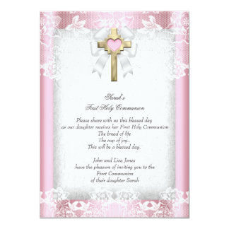 First Holy Communion 1st Girls Cross Pink 8 11 Cm X 16 Cm Invitation Card