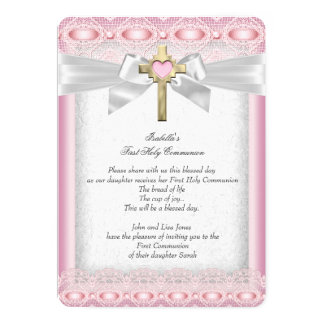 First Holy Communion 1st Girls Cross Pink Lace 13 Cm X 18 Cm Invitation Card