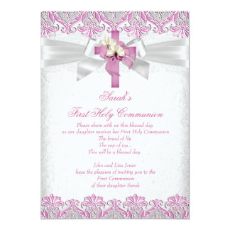 First Holy Communion 1st Girls Cross Pink Lace 2 13 Cm X 18 Cm Invitation Card