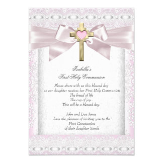 First Holy Communion 1st Girls Cross Pink Lace 3 13 Cm X 18 Cm Invitation Card