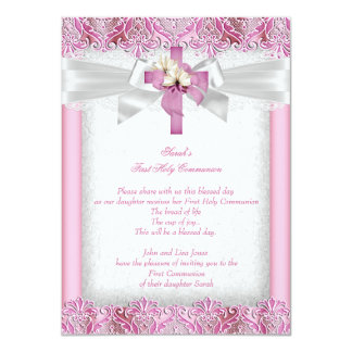 First Holy Communion 1st Girls Cross Pink Lace 4 11 Cm X 16 Cm Invitation Card