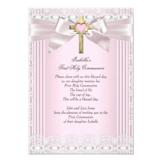 First Holy Communion 1st Girls Cross Pink Lace 5 13 Cm X 18 Cm Invitation Card