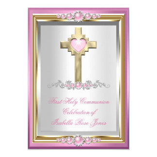 First Holy Communion 1st Girls Cross Pink Pearl 5x7 Paper Invitation Card