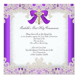 First Holy Communion 1st Girls Cross Purple 13 Cm X 13 Cm Square Invitation Card