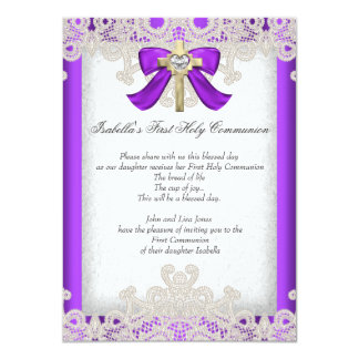 First Holy Communion 1st Girls Cross Purple 2 4.5x6.25 Paper Invitation Card