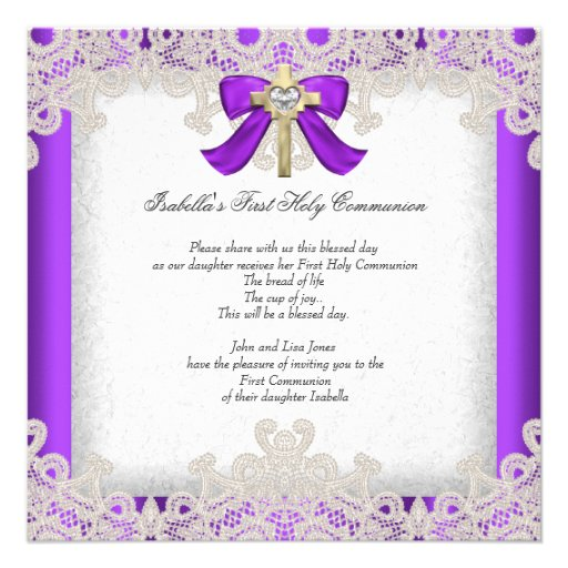 First Holy Communion 1st Girls Cross Purple Custom Invites