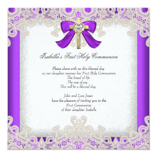 "First Holy Communion 1st Girls Cross Purple 5.25"" Square Invitation Card"