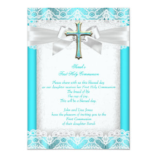 First Holy Communion 1st Girls Cross Teal 11 Cm X 16 Cm Invitation Card