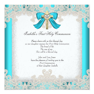 First Holy Communion 1st Girls Cross Teal 3 Card
