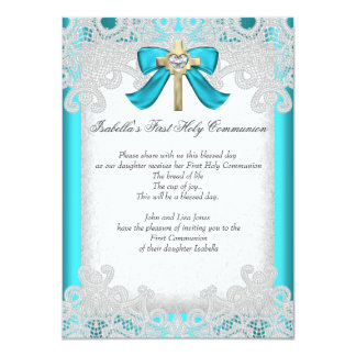 First Holy Communion 1st Girls Cross Teal 3b 11 Cm X 16 Cm Invitation Card