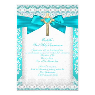 First Holy Communion 1st Girls Cross Teal Lace 13 Cm X 18 Cm Invitation Card