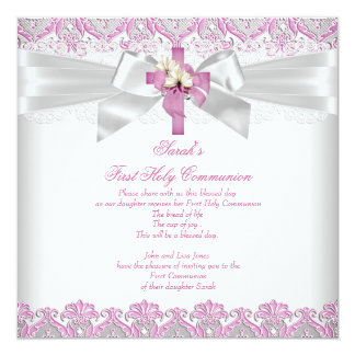 First Holy Communion 1st Girls Cross White Pink 13 Cm X 13 Cm Square Invitation Card