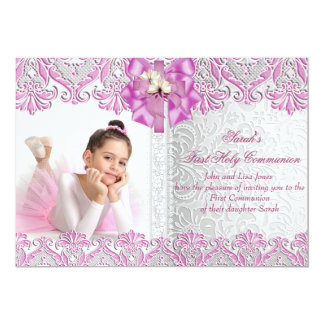 First Holy Communion 1st Girls Lilac Pink Photo 13 Cm X 18 Cm Invitation Card