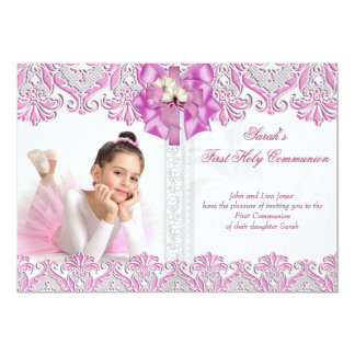 First Holy Communion 1st Girls Lilac Pink Photo 2 Personalized Invitation