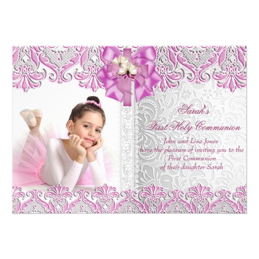 First Holy Communion 1st Girls Lilac Pink Photo Custom Announcements