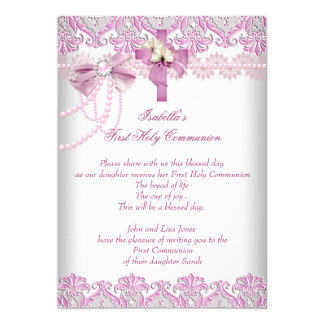 First Holy Communion 1st Girls Pink Pearl Lace Card
