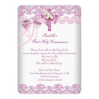 First Holy Communion 1st Girls Pink Pearl Lace 13 Cm X 18 Cm Invitation Card