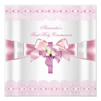 First Holy Communion 1st Girls White Pink Lace 2 13 Cm X 13 Cm Square Invitation Card