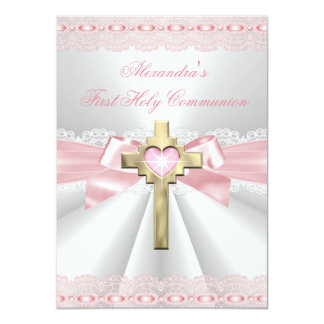 First Holy Communion 1st Gold Cross Girls Pink 3 Personalized Invitation