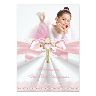 First Holy Communion 1st Gold Cross Girls Pink 4 11 Cm X 16 Cm Invitation Card