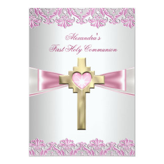 First Holy Communion 1st Gold Cross Girls Pink Custom Invitations