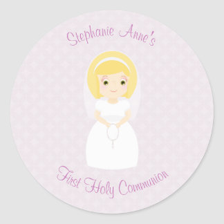 First Holy Communion Blonde Girl Classic Round Sticker