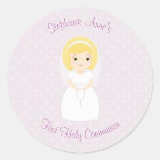 First Holy Communion Blonde Girl Round Sticker