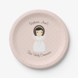 First Holy Communion Brunette Girl 7 Inch Paper Plate