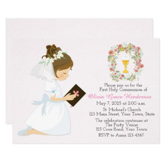First Holy Communion Brunette Girl Floral Wreath Card