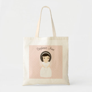 First Holy Communion Brunette Girl Tote Bag