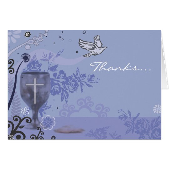 First Holy Communion Chalice Dove Thank You Card