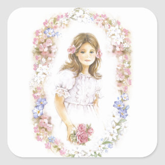 First Holy Communion, confirmation  girl Square Sticker