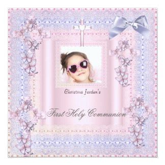 First Holy Communion Cross Girl Photo Lavender 2 5.25x5.25 Square Paper Invitation Card