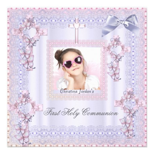 First Holy Communion Cross Girl Photo Lavender Personalized Invitation