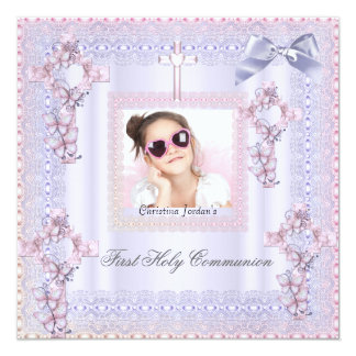 First Holy Communion Cross Girl Photo Lavender 5.25x5.25 Square Paper Invitation Card