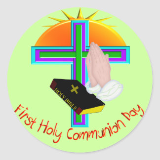 First Holy Communion Day Gifts Classic Round Sticker