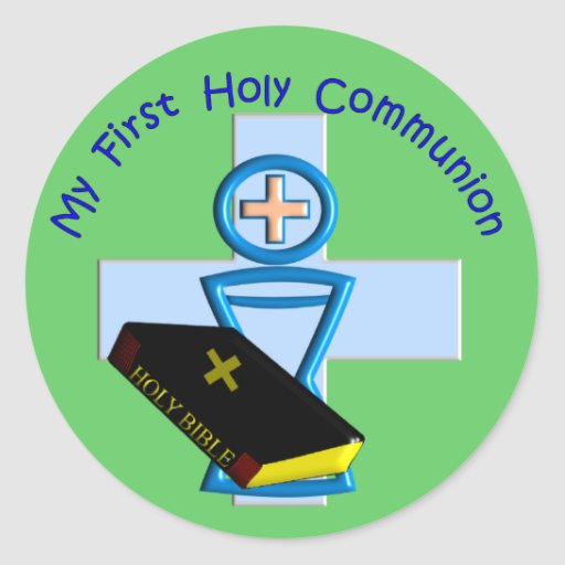 First Holy Communion Gifts for Kids Round Stickers